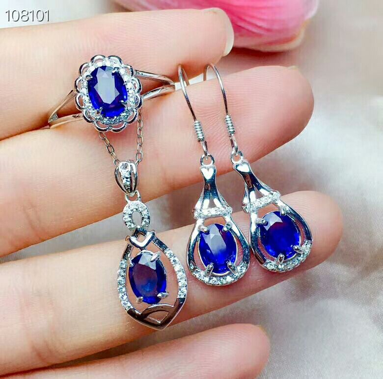 """6-14mm Blue Sapphire Gemstones Round Beads Necklace Earrings Jewelry Set 18/"""""""