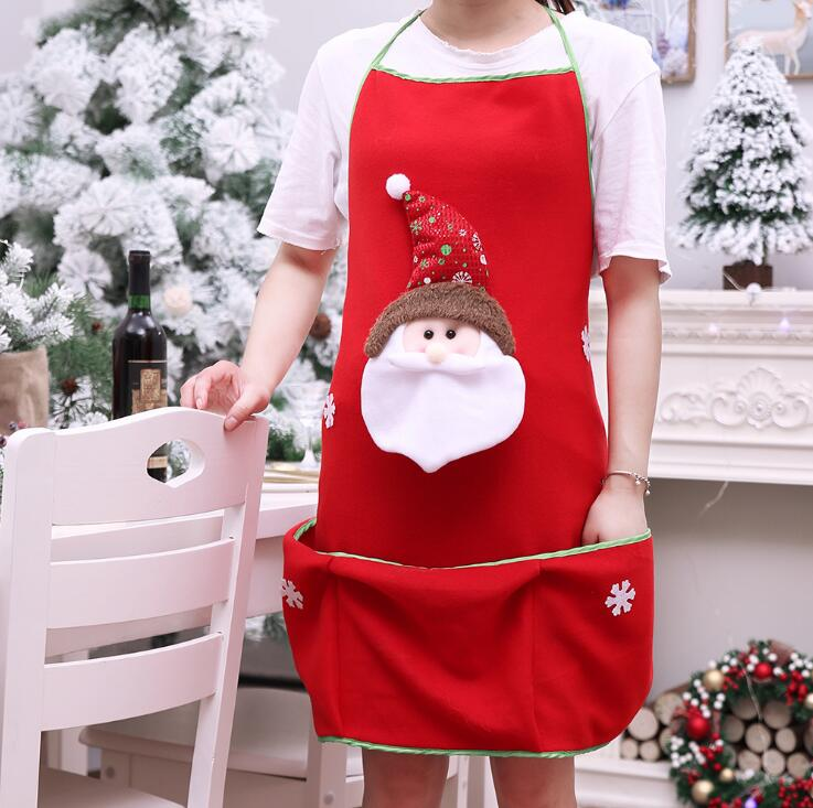 Adult Christmas Apron Home Kitchen Cooking Chef Red Santa Claus Apron Decor GT