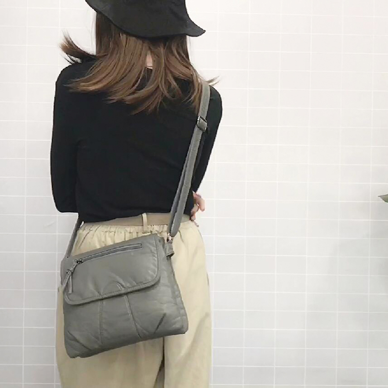 Nero Piccolo messaggero delle donne Borsa morbida pelle lavata PU Crossbody Bag femminili borsa Purses Shoulder Bag