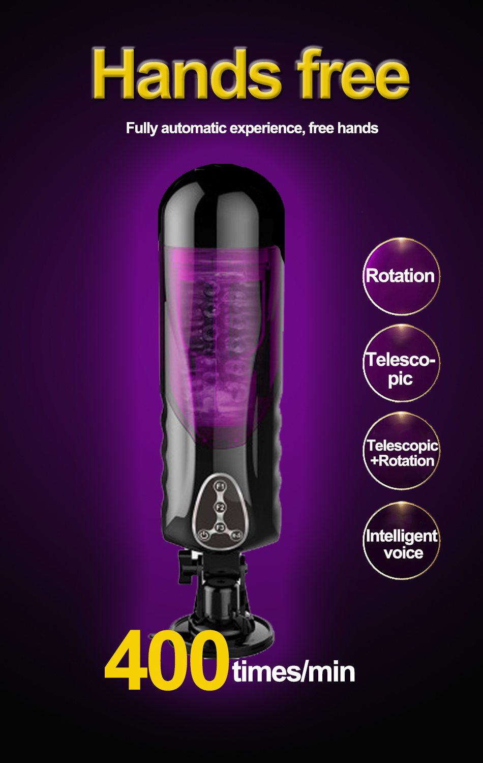Sex shop products Hand Free Automatic Rotating Voice Sex Machine Vagina Pussy Vibrator Sex Toys for Men Male Masturbators