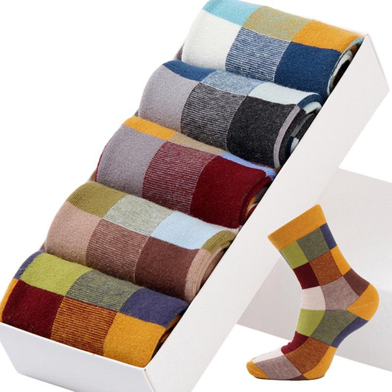 5PairLot Men\`S Socks Combed Cotton Autumn Winter Fashion Colorful Square Socks Men Harajuku Personality Breathable Crew Socks (9)