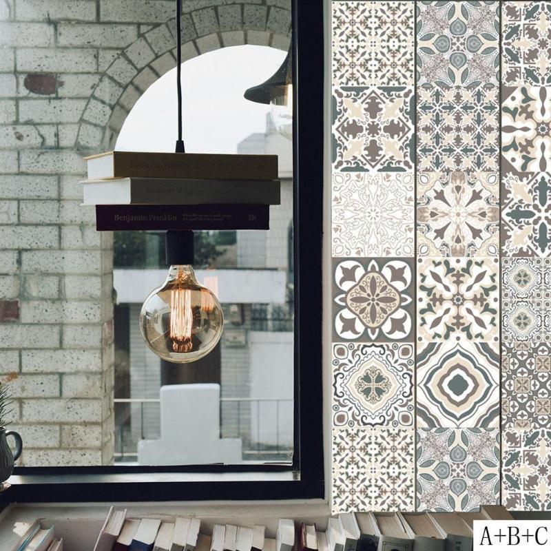 Retro Tiles Wall Stickers for Bathroom kitchen Tile Stickers Decor Adhesive Waterproof PVC Wall Stickers Kitchen Waist Line D19011702