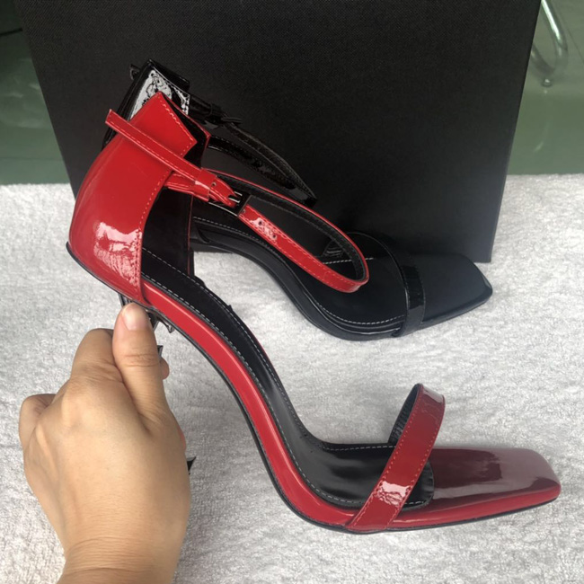 New Arrivals 2020 Patent Leather Thrill Heels Women Unique Designer Pointed toe Dress Wedding Shoes Sexy Brand shoes Letters heel Sandals 41