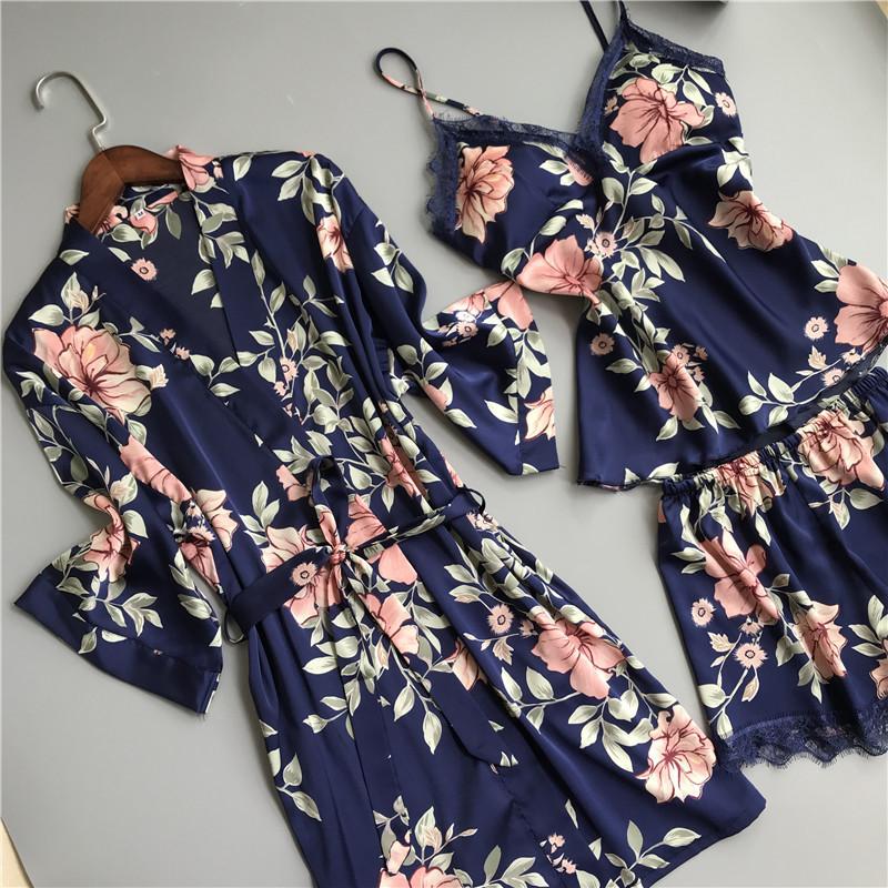 Sexy Black Flower Short Pajamas Women Night Gown Set Korea Fresh Robe 3-piece Suits+spaghetti Straps Shorts Pyjamas Indoorwear T190618