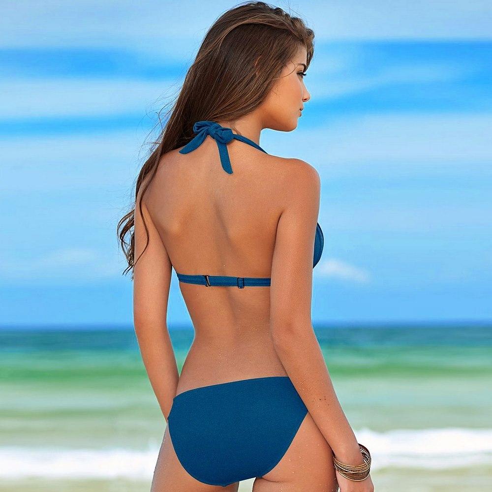 Sıcak Satış 2019 Brezilyalı Mayo Kadınlar Bandaj Katı Bikini Seti Beachwear Yıkanma Suits biquini Swim Wear Mayo Bikini Sexy Top