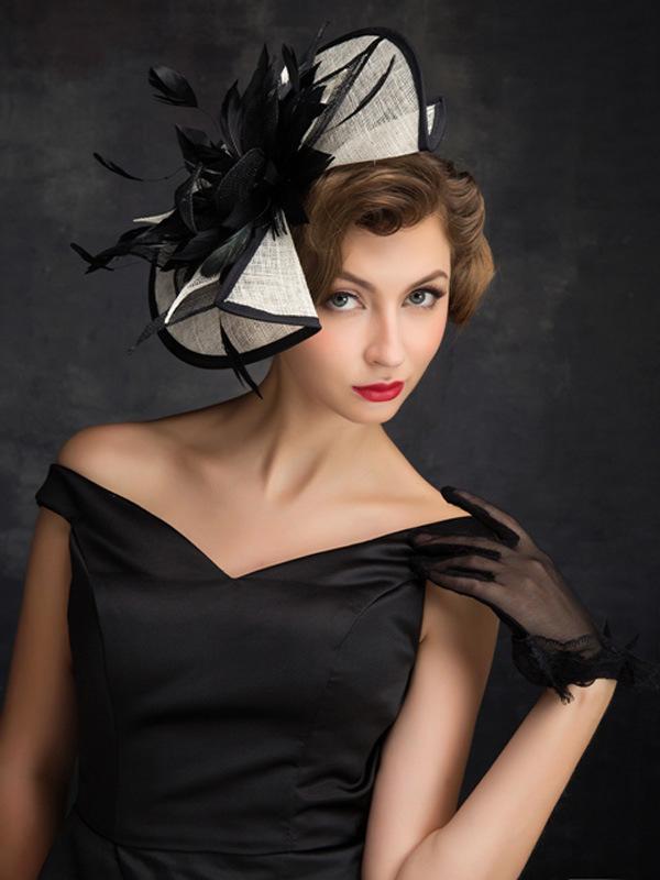 Women Chic Sinamay Fascinator Hat Cocktail Wedding Party Church Headpiece Fashion Headwear Formal Feather Hair Accessories J190507
