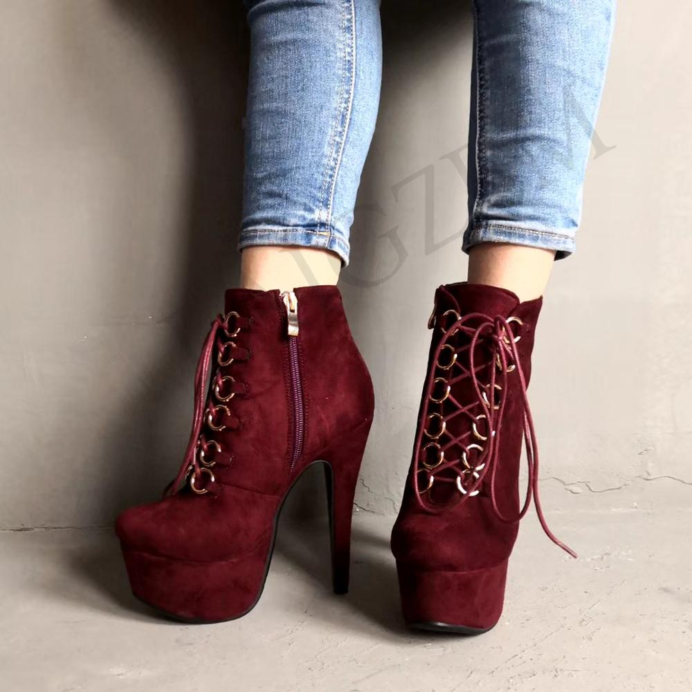 LAIGZEM Women Ankle Boots Faux Suede Platform High Heel Zipper Boots Wine Red Black Ladies Botines Mujer Small Big Size 34-52