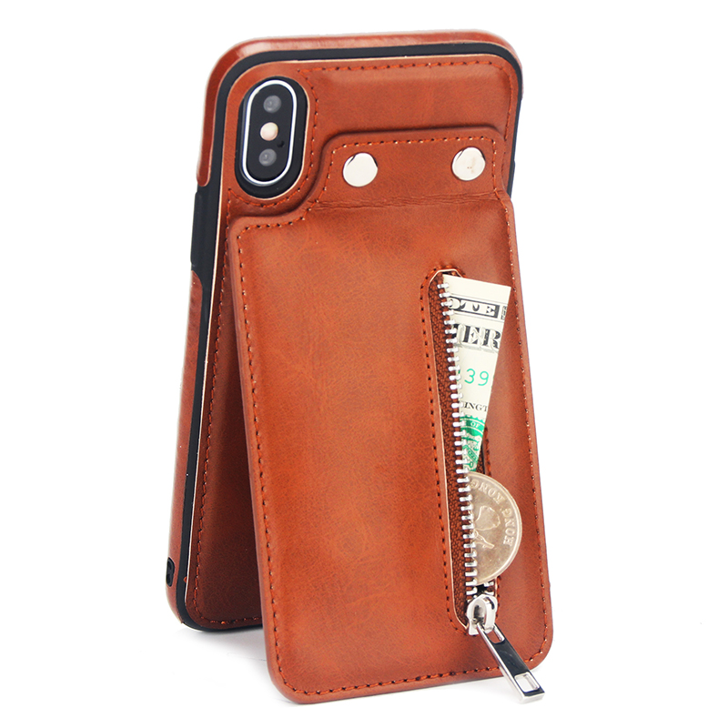 Vintage Leather Case For iPhone 6 6s 7 8 Plus X XR Case Card Zipper Wallet Stands Flip Cover For iPhone XS Max 6 6s Phone Case