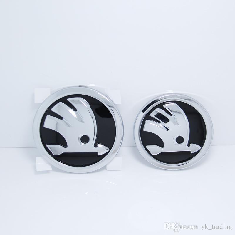 front and back Octavia Superb NEW DESIGN Set of 2pcs 80mm+90mm SKODA emblem