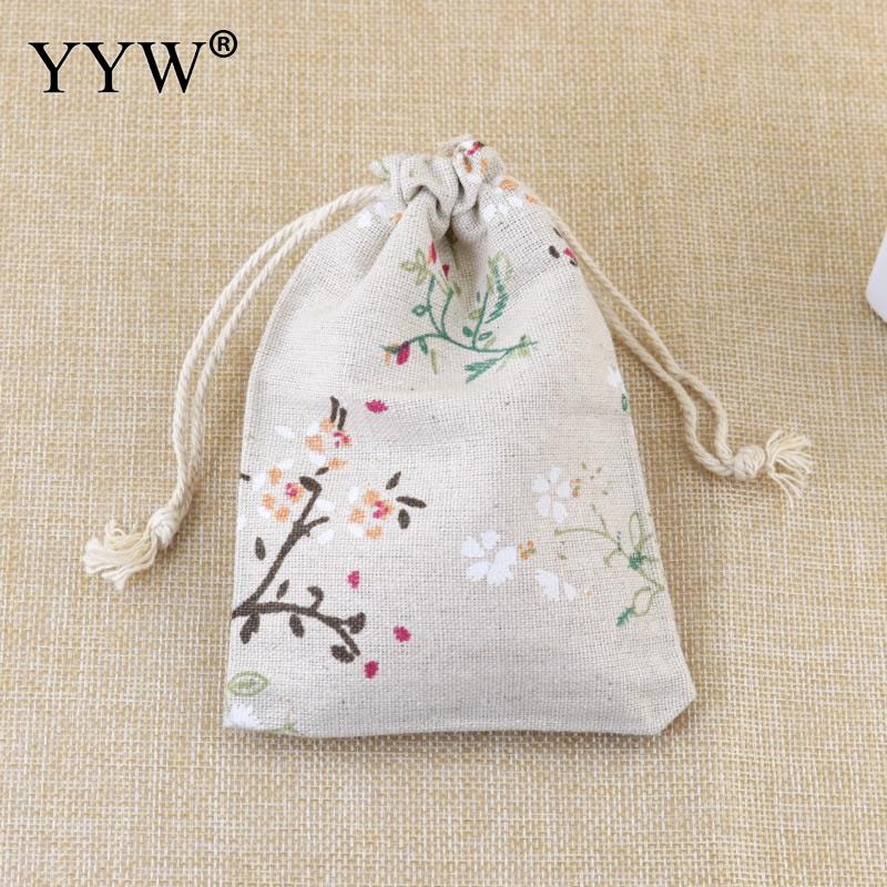 Wholesale 10*14cm Jewelry Pouches Bags Cotton Fabric With Nylon Cord Bags Christmas Gift Bags Candy Jewelry Packaging