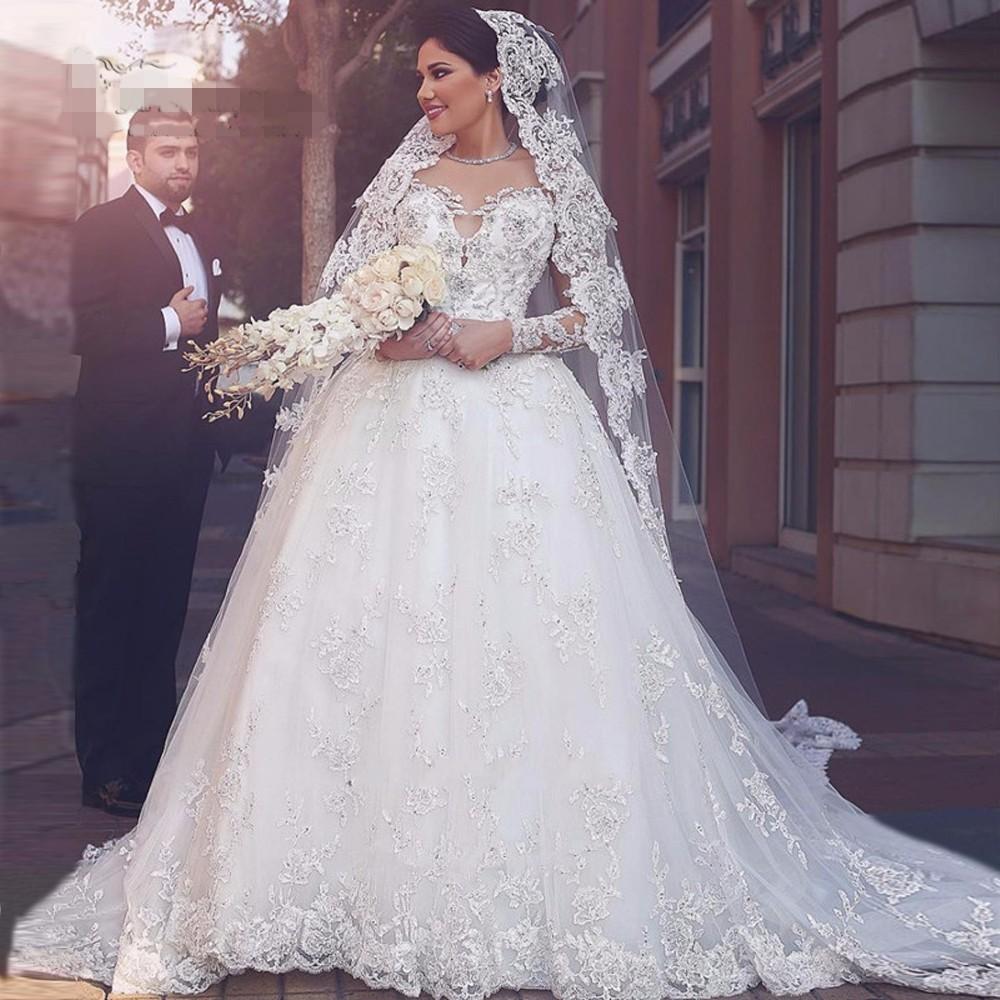 Arabisch Brautkleider Schatz Türkei geschwollene lange Ärmel Brautkleider  Spitze Crystals Luxus Libanon Braut Kleid 17 Vestido de Noiva