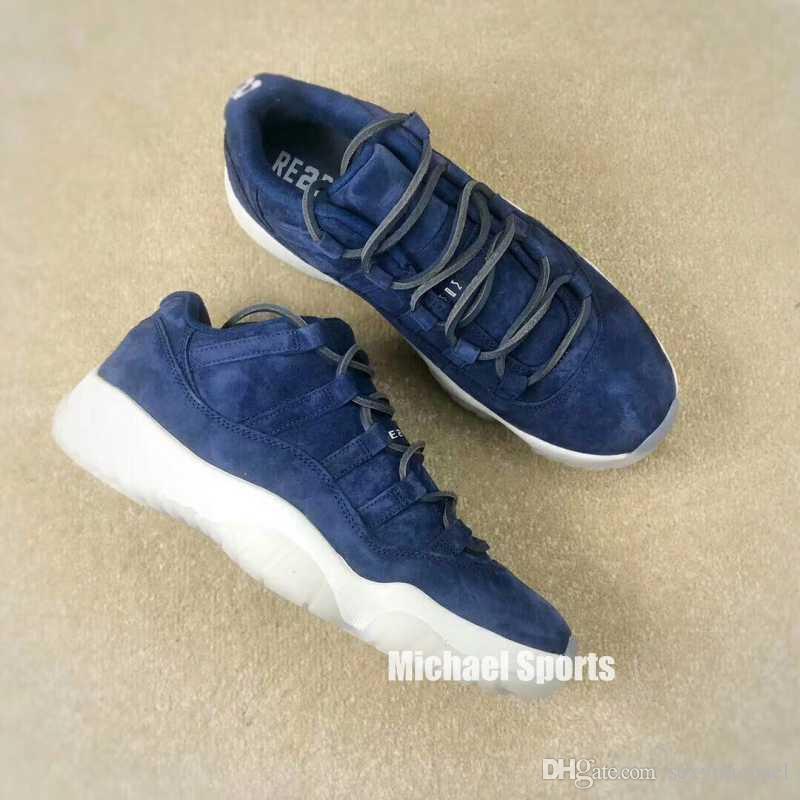 Low Factory Versão 11 Top Bred Concord Cool Cinza Azul Camurça Branco Azul Esmeralda Com Box Michael Sports