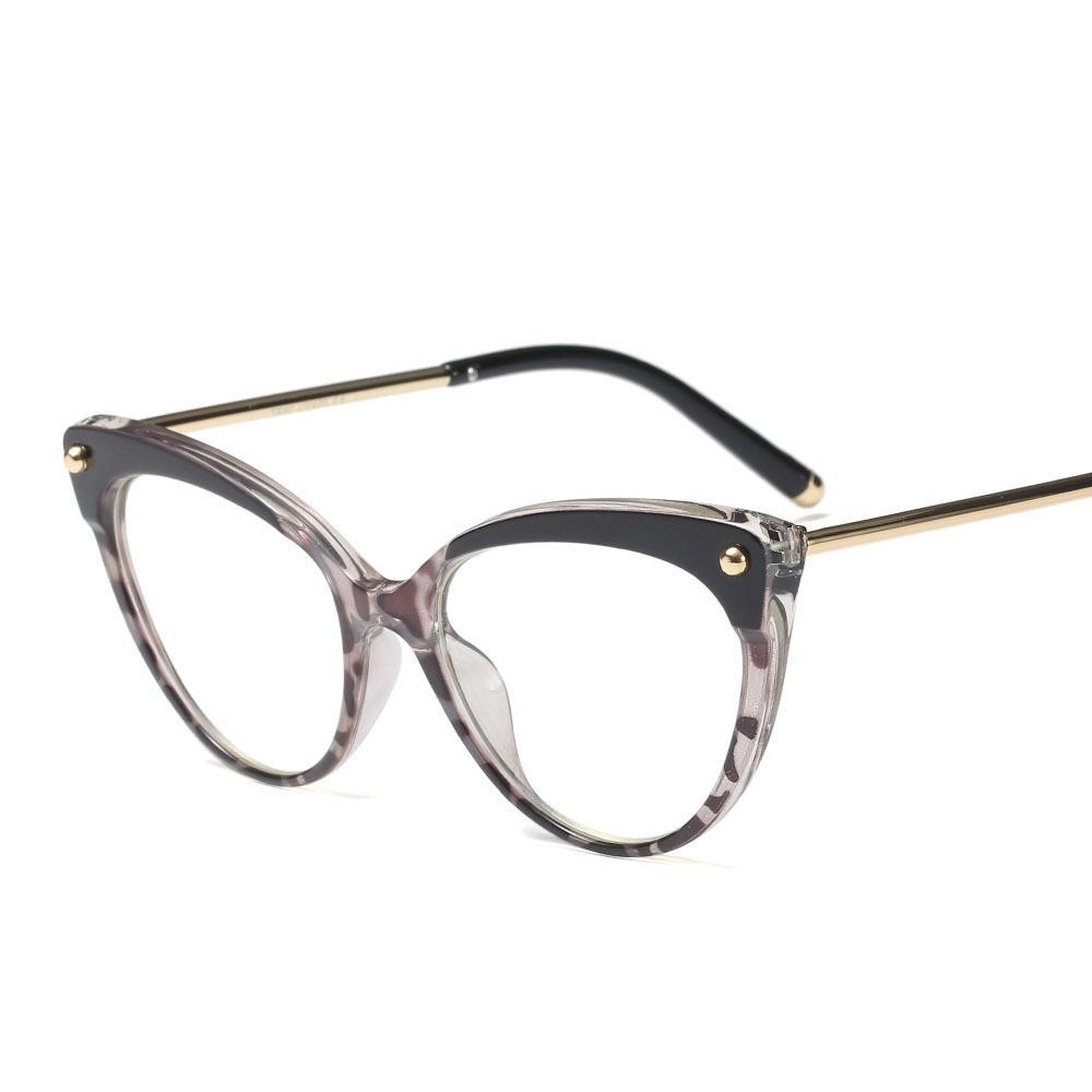 Transparent Oeil De Chat Demi Jante Lunettes cadre vintage eye lunettes Femmes de soleil
