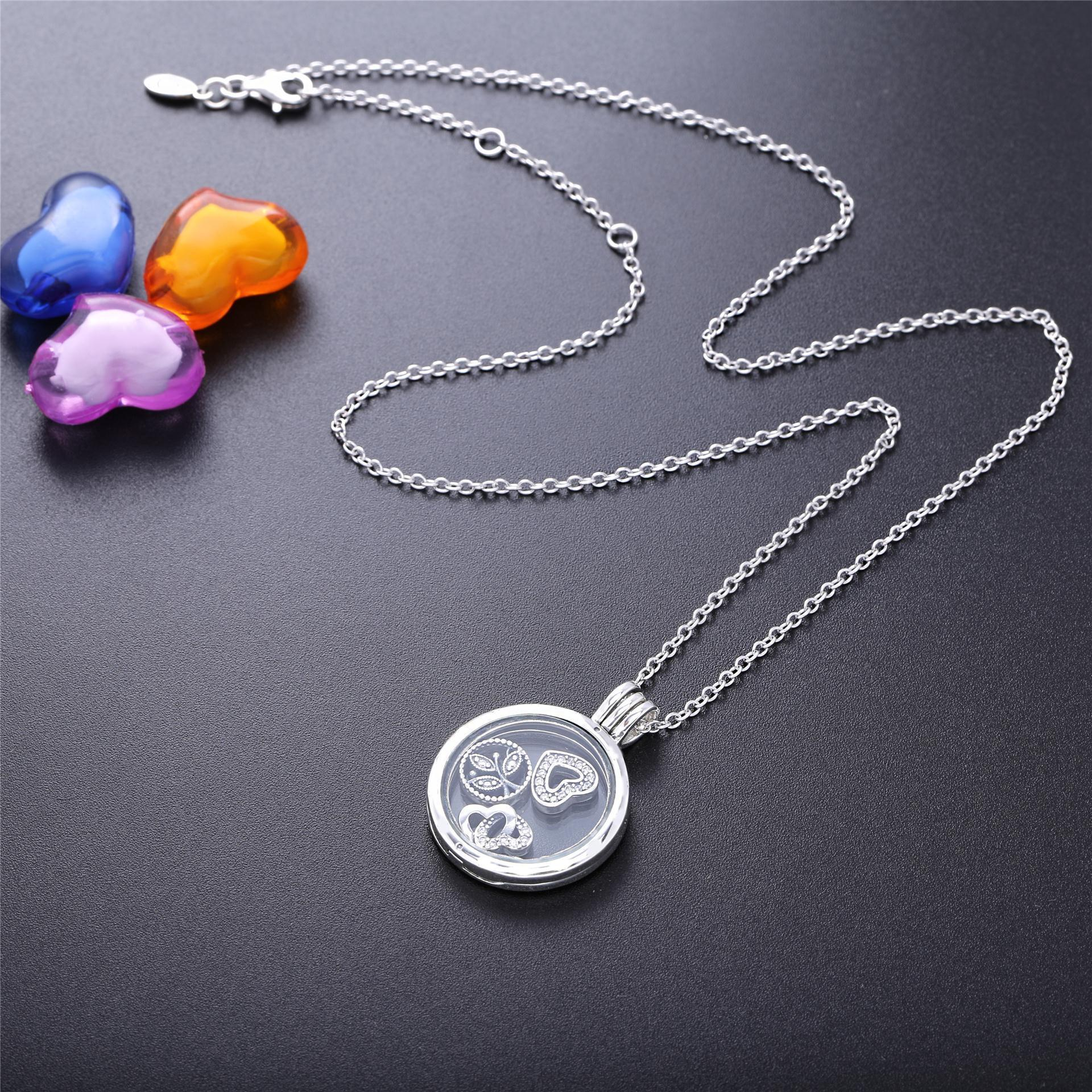 Original 925 Sterling Silver Floating Medalhão Pan Colar Com Limpar Cubic Zirconia De Vidro Para As Mulheres Presente Jóias Diy J190526