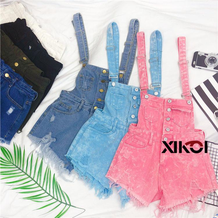 2018 Fashion Denim Bibs Schoolgirl Spring Summer New Loose Korean Thin Hole Burst Fringe Shorts There is a large yard (6)