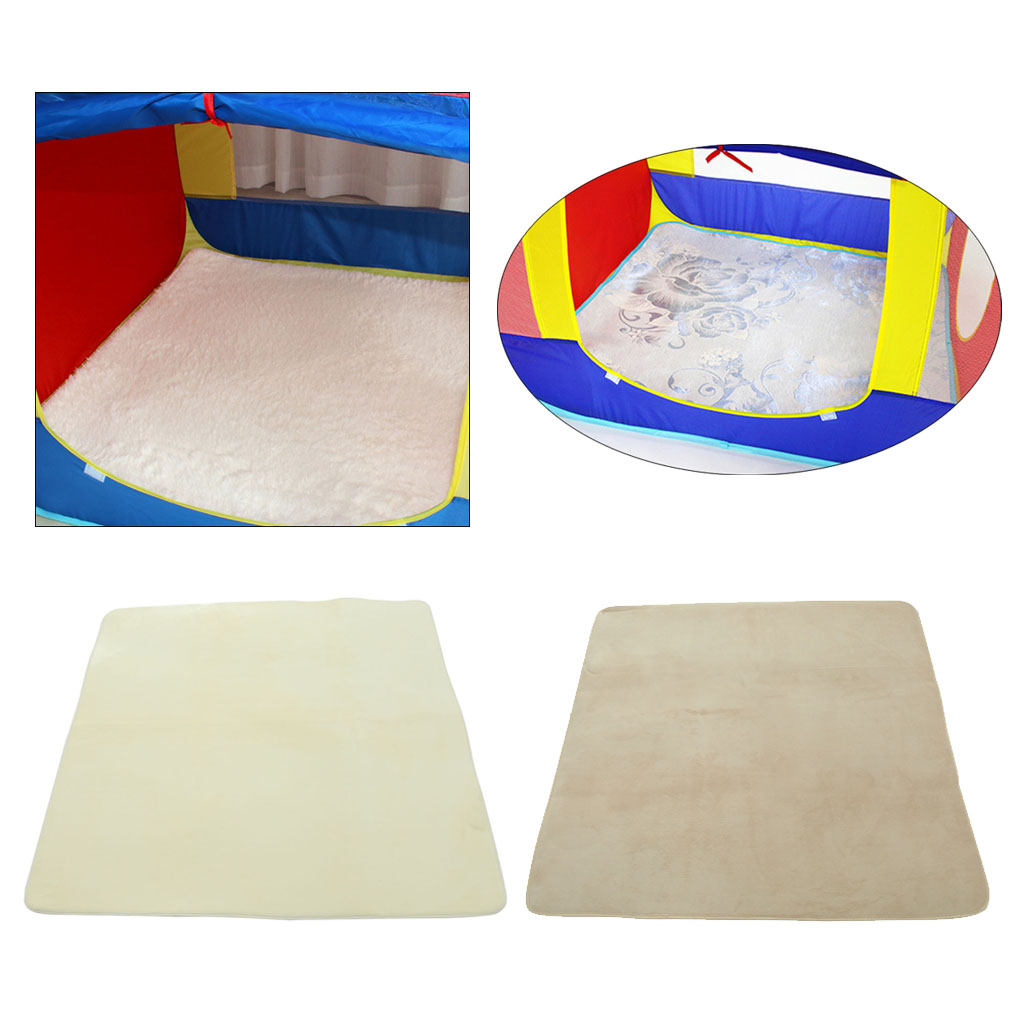1.2M Soft Coral Fleece Kids Baby Indoor Playhouse Tent Carpet Rug Pad Bedroom Cushion Floor Activity Toy -Square White