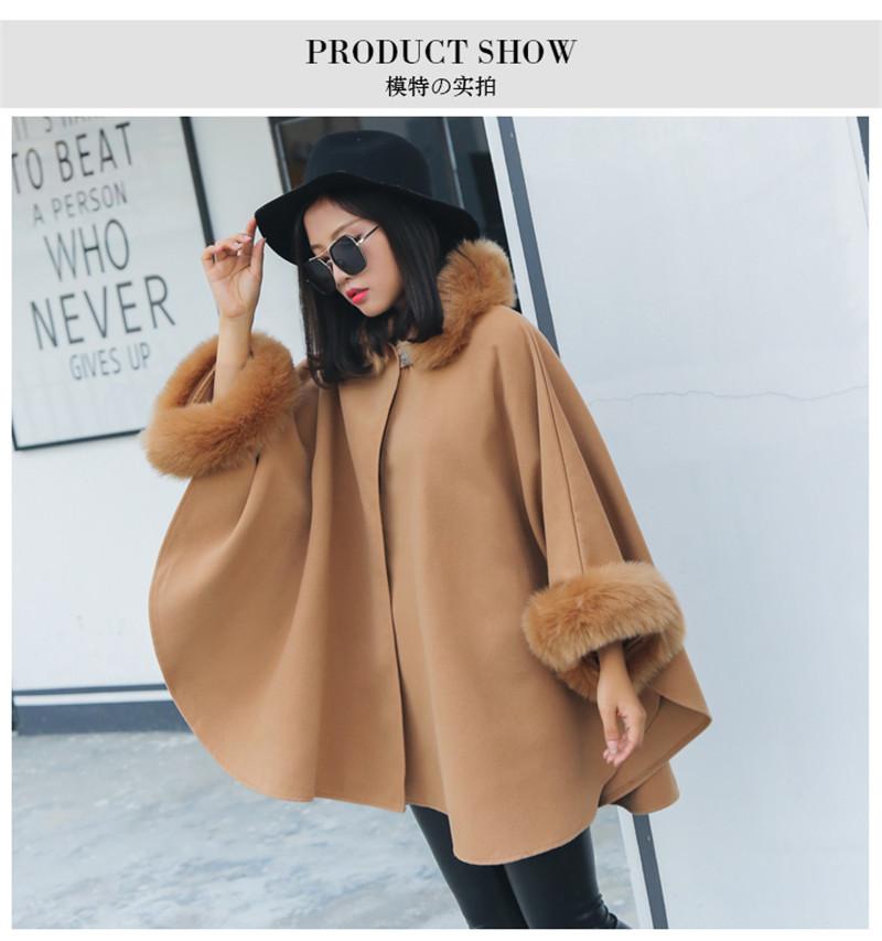 faux fur collar cloak style wool blend outerwear-7