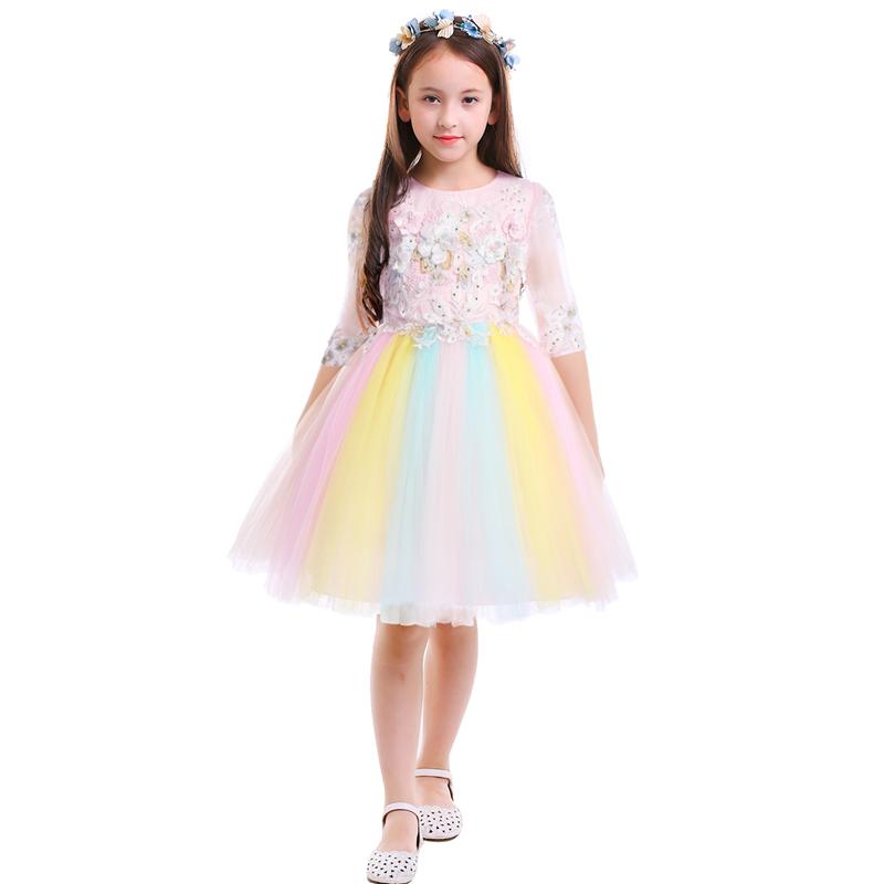 Moda Kızlar Gökkuşağı Elbise Çiçek Boncuk Unicorn Elbise Tül Balo Prenses Elbise Pageant Doğum Günü Partisi Çocuk Kız DressMX190822
