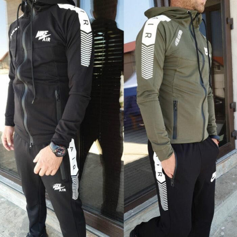 Men Jogging Full TrackSuit Jacket Top Bottom Sport Suit Sets Pants Trouses Strips Blazer