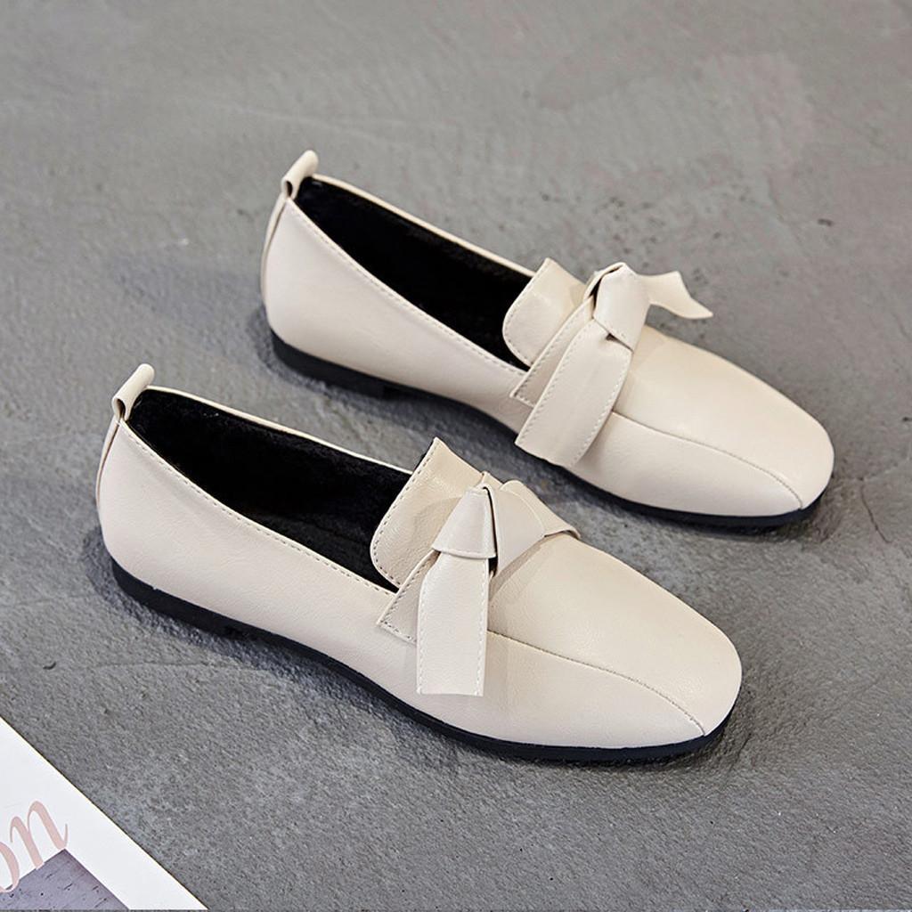 Designer Dress Shoes Sagace Fashion Retro Bow Pumps Square Head Flat Single Platform Low-heeled Peas Shallow New Woman 2019jan23