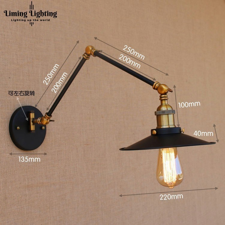 Retro Vintage Adjustable Long Swing Arm Wall Light Fixture Edison Wall Lamp Loft Style Industrial Wall Sconce Appliques LED