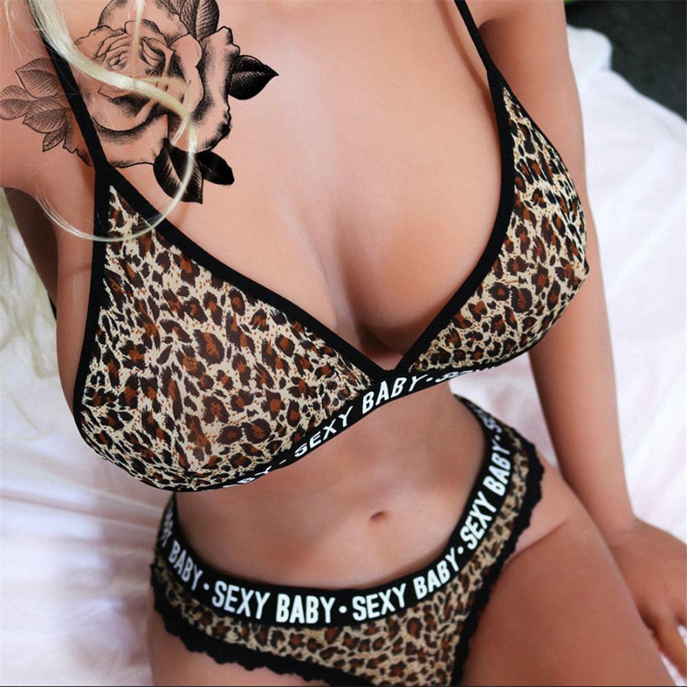 Women Lingerie Leopard Print Bra Set Lace G-string Thong Underwear Sleepwear Hot