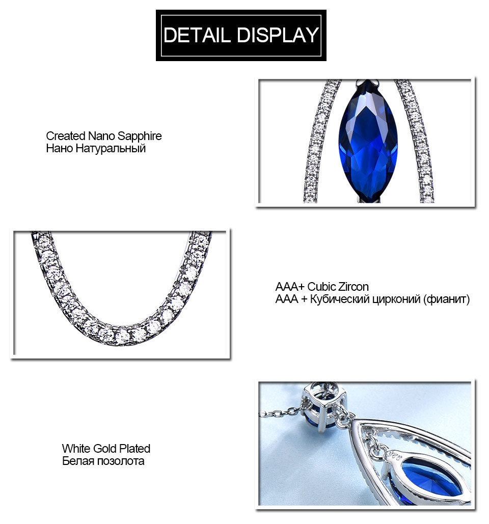 UMCHO Sapphire 925 sterling silver jewelry set for women S021S-1 (8)