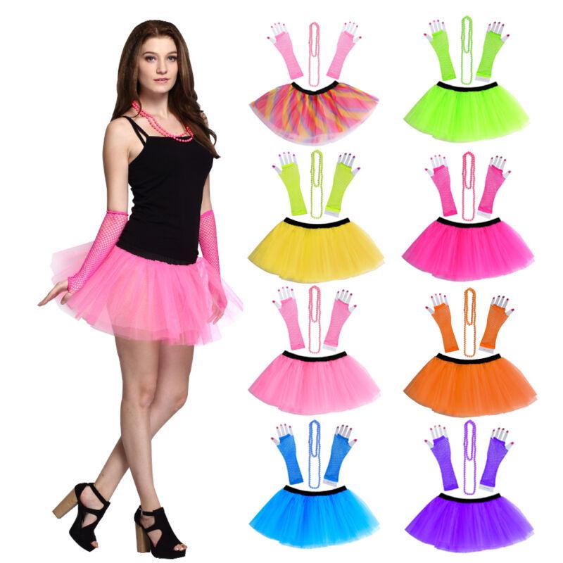 80s Ladies Girls Neon Mini Tutu Skirt Ballet Dancewear Party Costume Fancy Dress