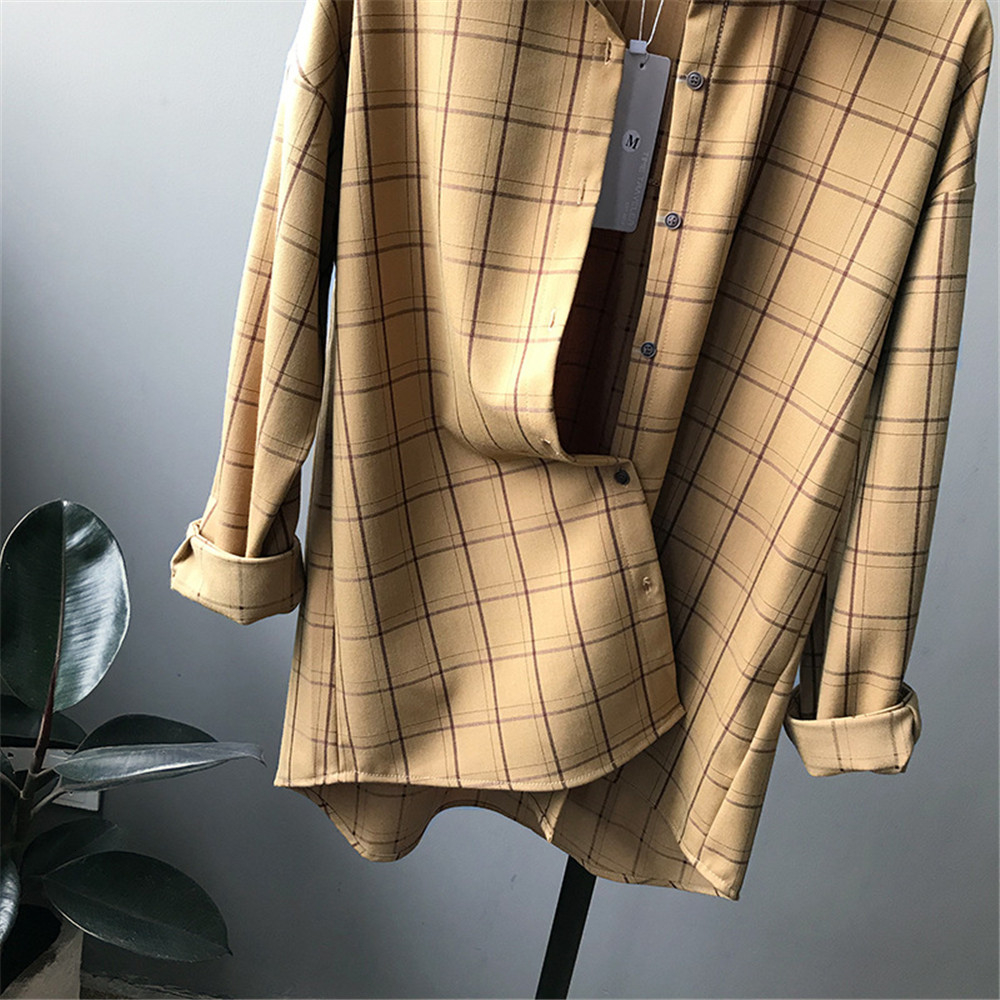 Loose cotton Checkered plaid College blouses shirt Cage female long sleeve Casual women Blouse shirt office lady tops (8)
