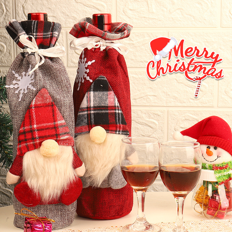 Christmas Santa Wine Bottle Mini Apron Cover Dinner Home Party Table Decor DS