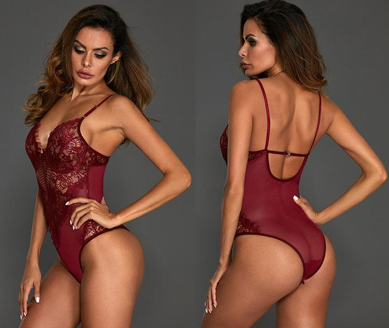 Burgundy-Sheer-Mesh-Lace-Cupped-Teddy-Lingerie-LC32077-103-5