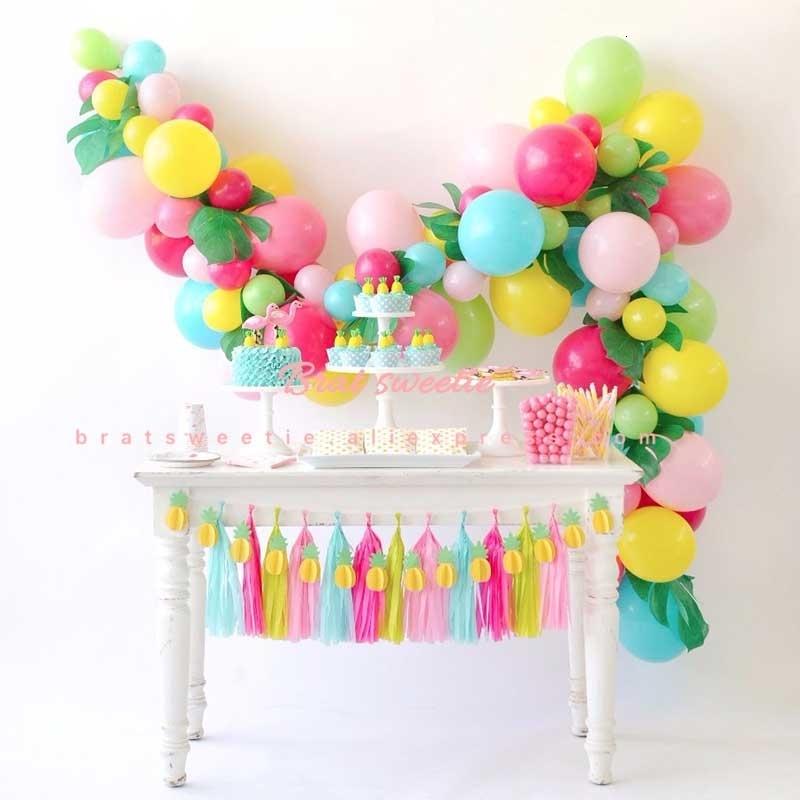 2019 Flamingo Party Decorations Hawaiian Tropical Latex Balloons Garland Diy Kit Artificial Monstera Leaves Birthday Party Supplies Sh190920 From