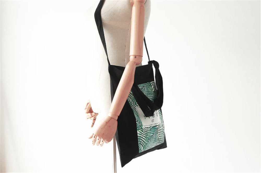 daa2b61f32bb Black And White Shoulder Bag Tropical Leaves Printed Tote Bags Women Large  Capacity With Three Straps Easy Carrying Handbags Cheap Purses Handbags For  ...