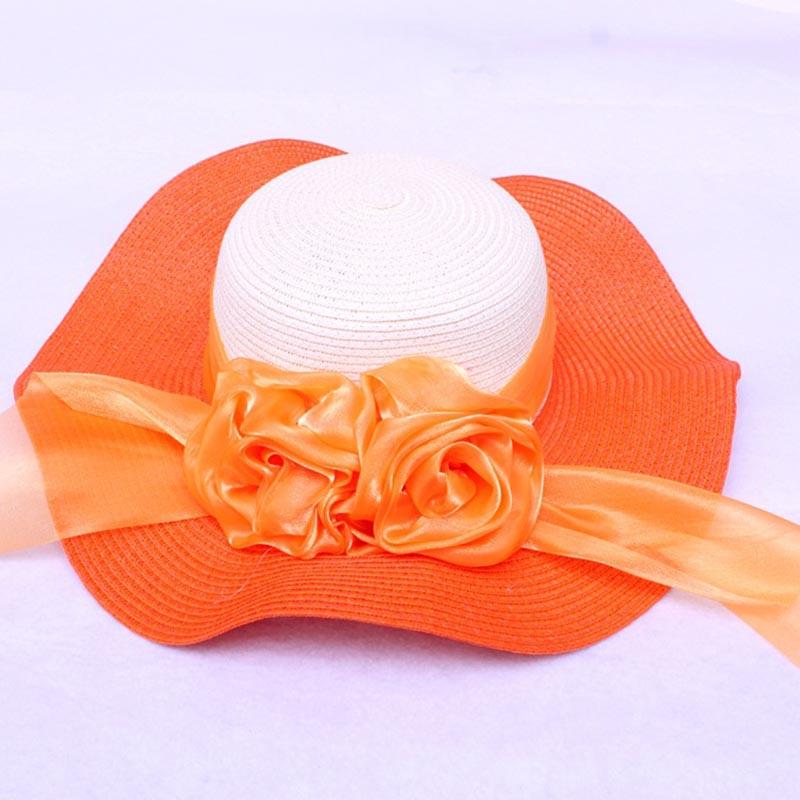 Fashion Straw Hat Flower Ribbon Summer Beach Wide Brim Fisherman Sunscreen Folding Hand Made Casual Wave Girls Hats CP0238 (1)