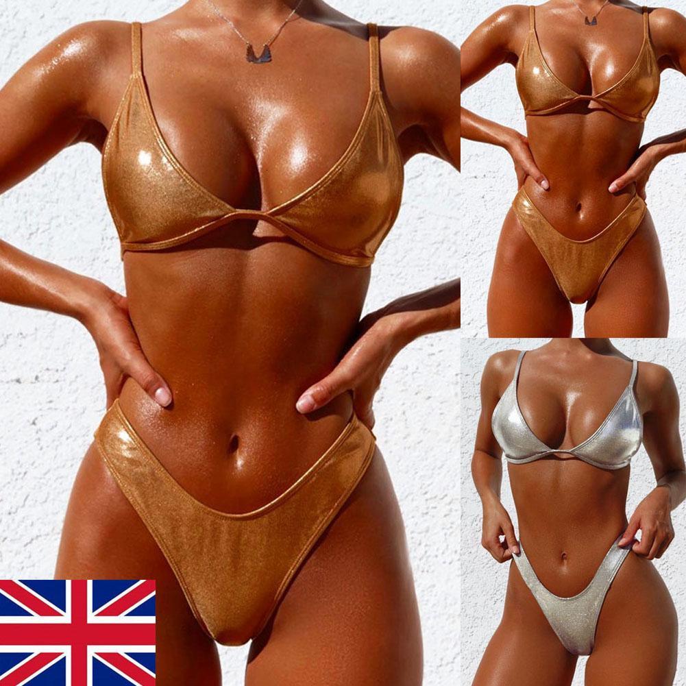 Kadınlar Kadın Bandaj Mikro Mayo Set İçin Yeni Bikini Altın Gümüş Parlak İki Deri Bikini Mayo Adet Suit