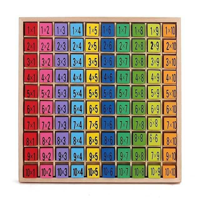Newest Math Toy Baby Wooden Toys 99 Multiplication Table Math Toy 10*10 Blocks Baby Early Learning Educational Montessori Toy