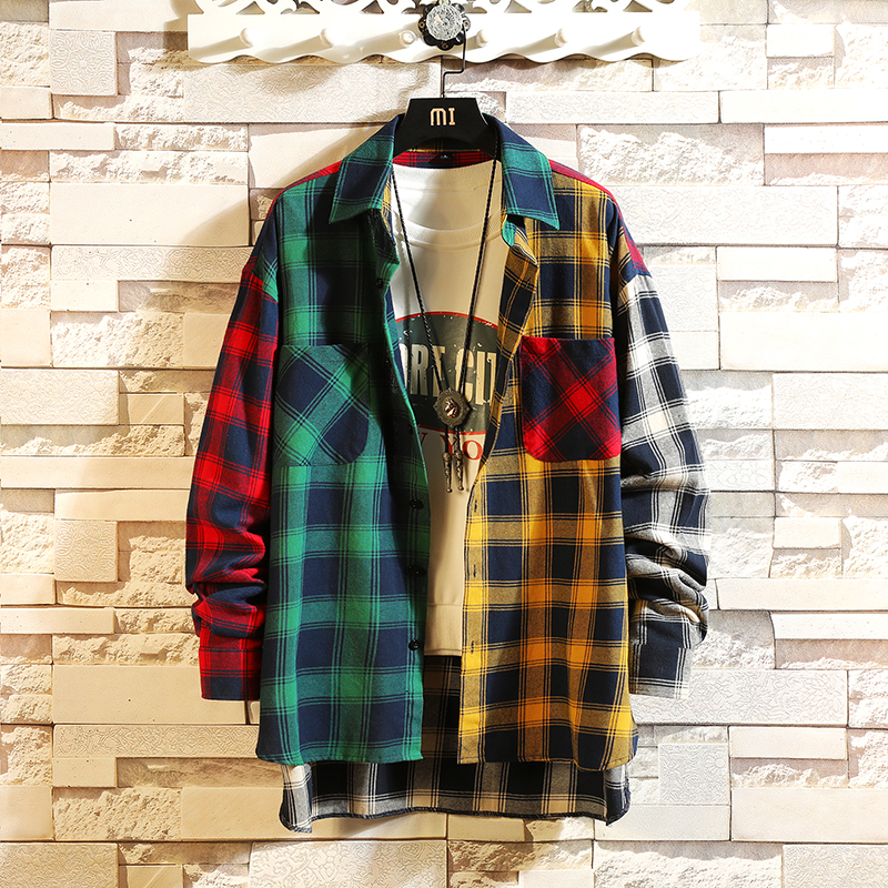 Fashion Men Plaid Print Male Shirts Thin Cotton With Full Sleeve Shirt Fashion Casual College Style Patchwork Colors Couple Blouse Shirt