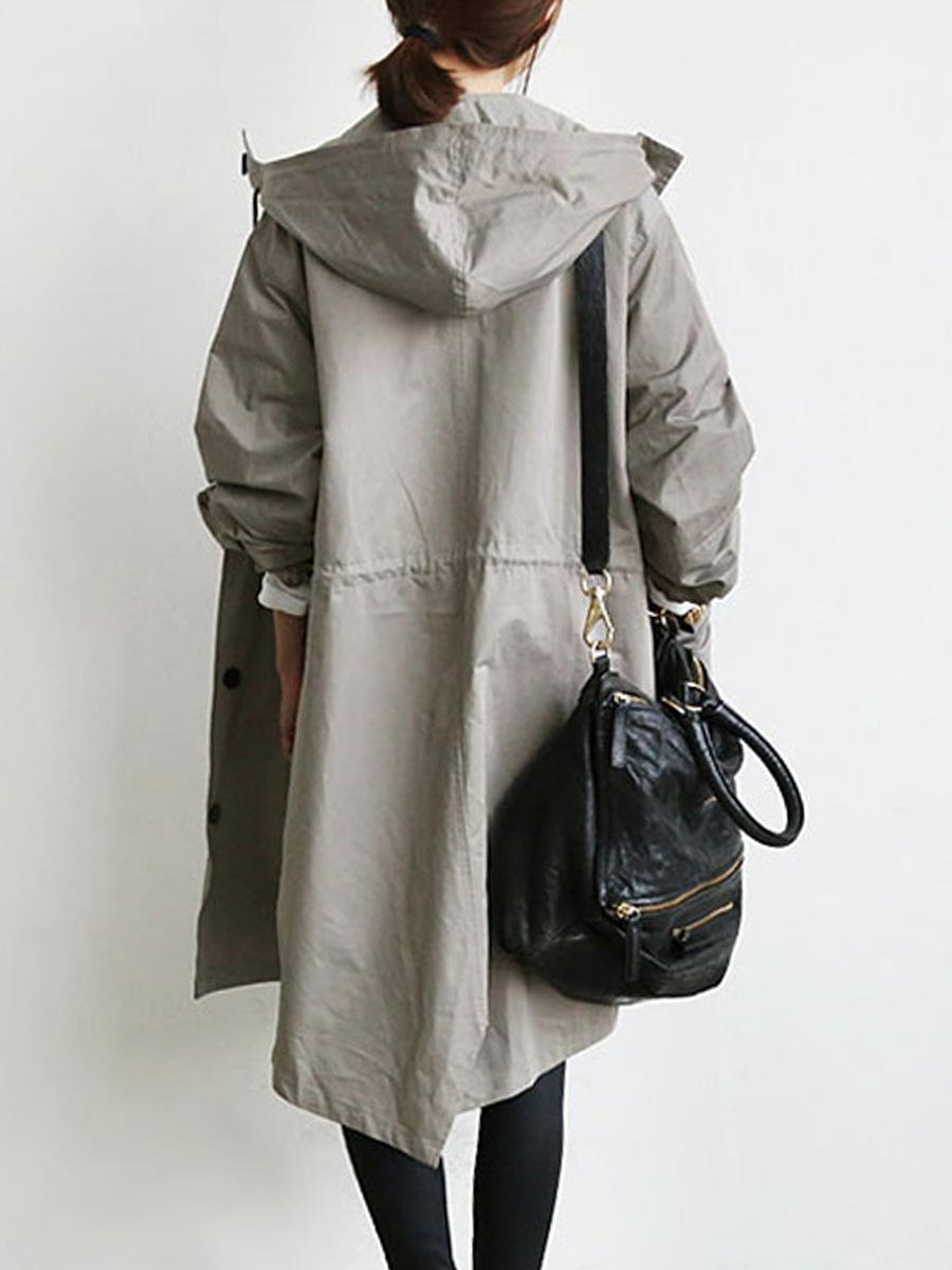 Terno-vestido Windbreaker Traga Hat Cardigan Long Fundo Solto Casaco