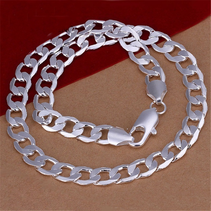 OMHXZJ Wholesale Personality Fashion Unisex Party Wedding Gift Silver 12MM Figaro Chain 925 Sterling Silver Chain Necklace NC195