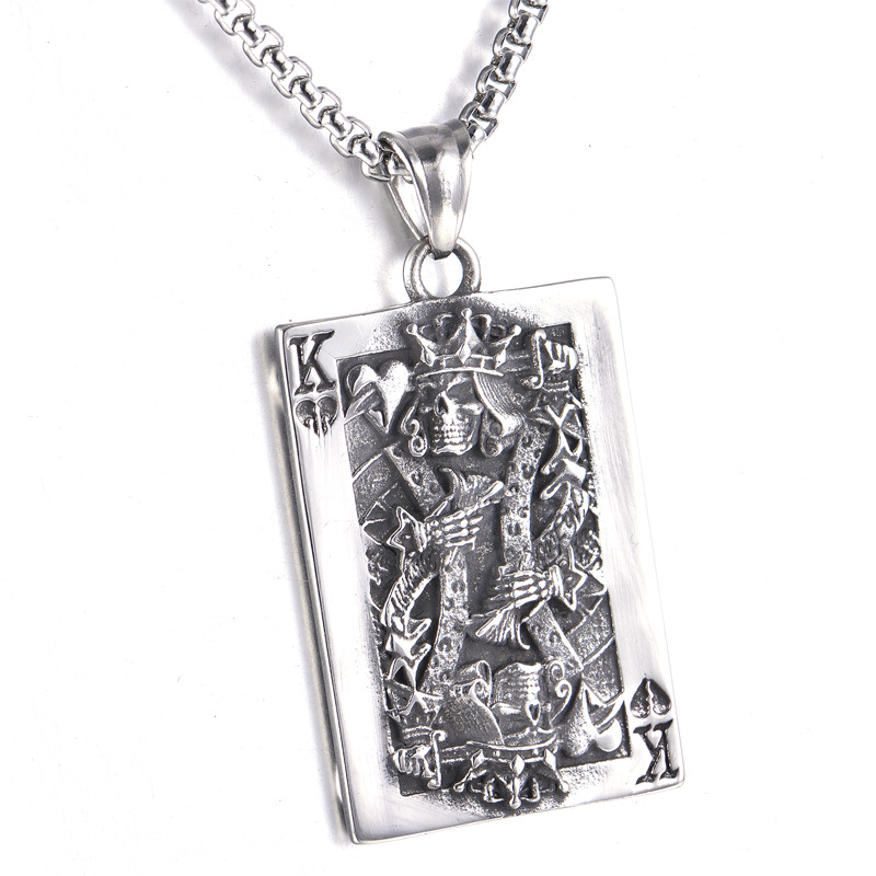 Daesar Collier Acier Inoxydable Collier Pendentif Homme Homme Poker Card King K