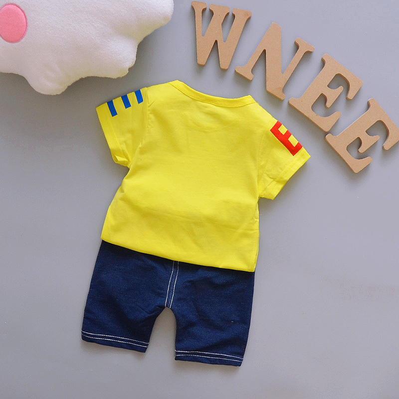 2018-Summer-Girls-Boy-Baby-Clothing-Cotton-Infant-Stripe-Letter-Printing-T-Shirt-Shorts-2PCS-For