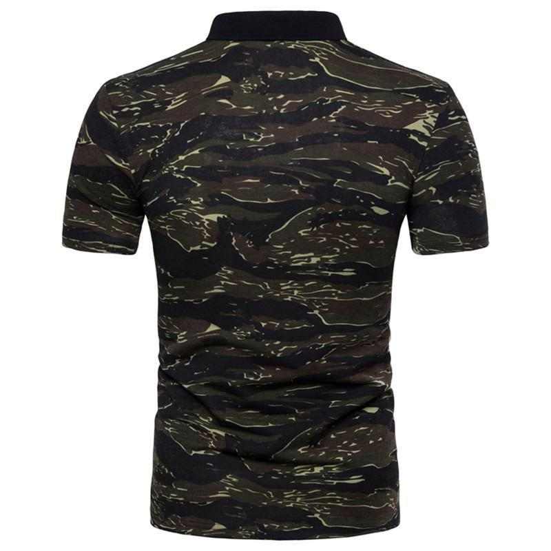 Military Fan Camo T-shirts Russia Brave Men Short Sleeve Summer Casual Camouflage Print Army Green Knit Cotton Button Lapel Tees