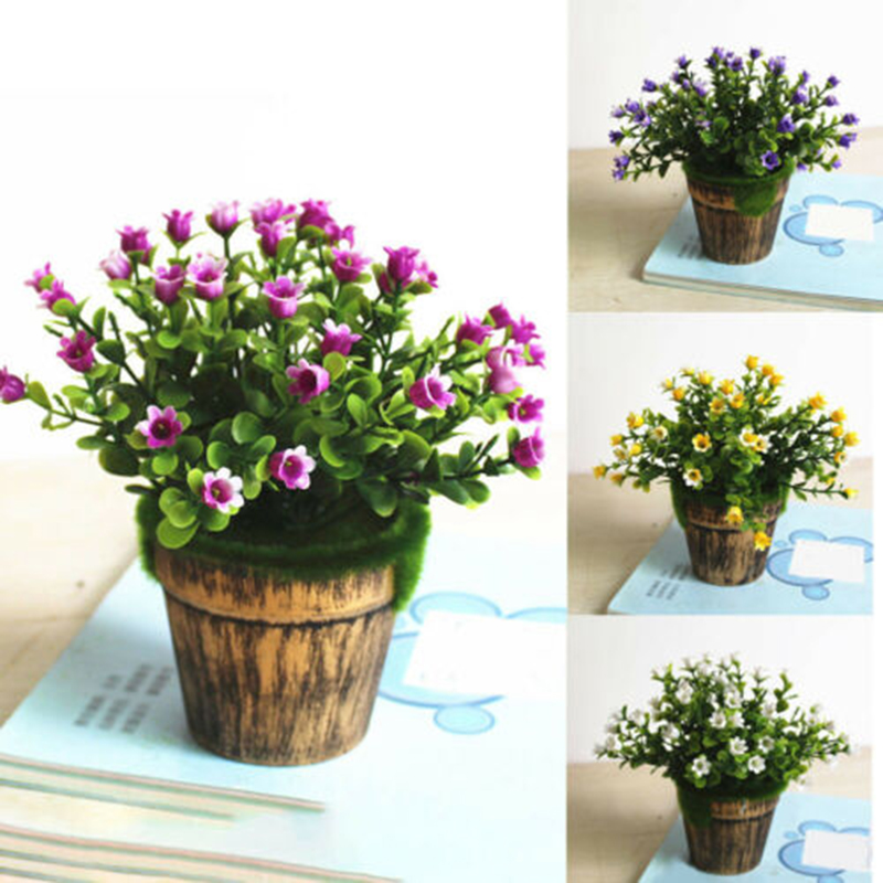 Artificial Fake Potted Flowers Plant Bonsai Outdoor Indoor Garden Decor With Pot
