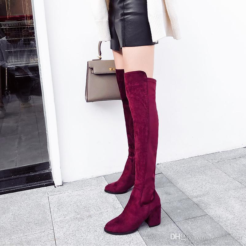 Charm2019 Pop Burgundy Chunky Heel Over The Knee Boots Thigh High Boots Elastic Cloth Patchwork Shoes Wine Red Black To
