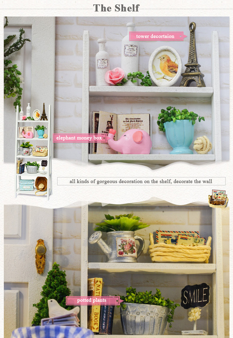 Doll House Frame Miniature with Furniture Model Building Kits DIY Wooden Dollhouse Miniaturas Toys for Children Birthday Gift (9)