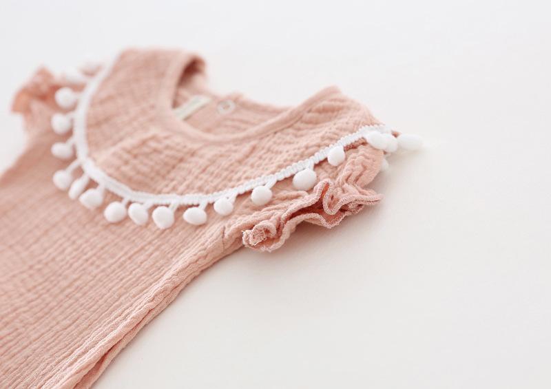 Cute Newborn Baby Girl Romper 2017 Summer short sleeve Princess fur ball Sunsuit One Pieces Tassel Clothes free drop shipping (11)