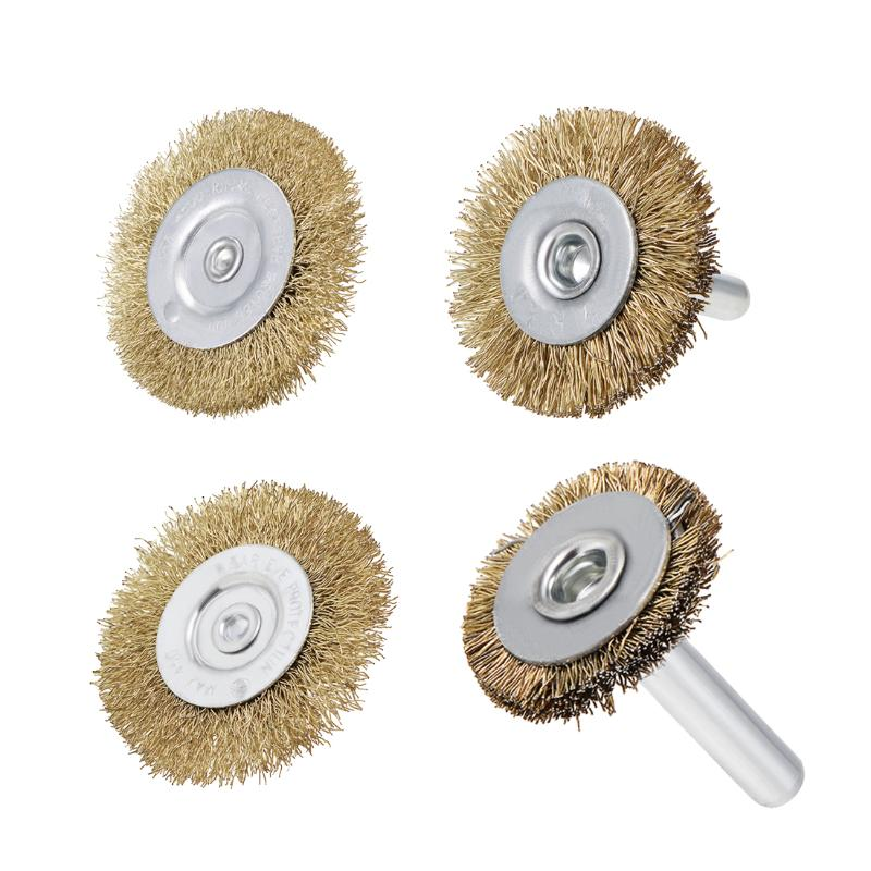 Brass Plated Pressed Steel 5 Pieces 2 inch Wire Wheel Brush Bench 1//4 inch Shank