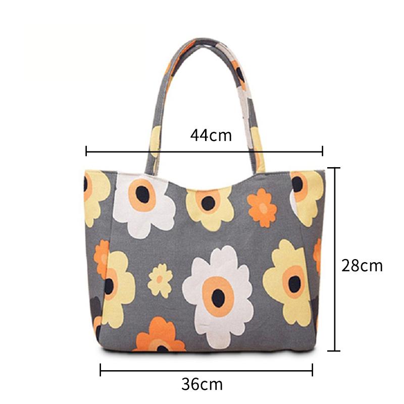 EXCELSIOR Waterproof Canvas Casual Zipper Shopping Bag Large Tote Women Handbags Floral Printed Ladies Single Shoulder Beach Bag