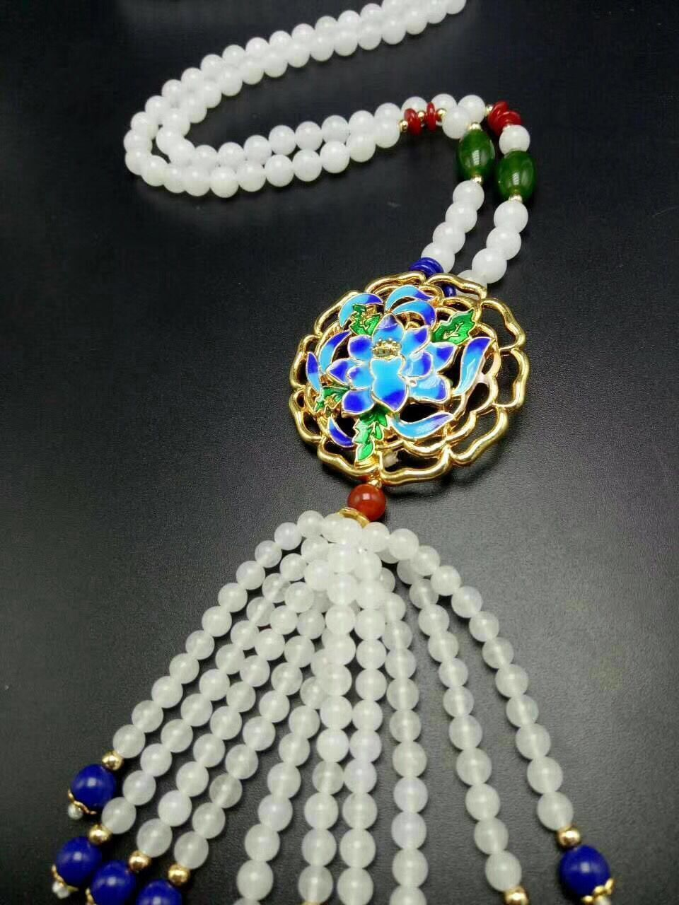 Natural White Jade Bead Necklace, Fashionable Beautiful Lady's Best Present Wholesale