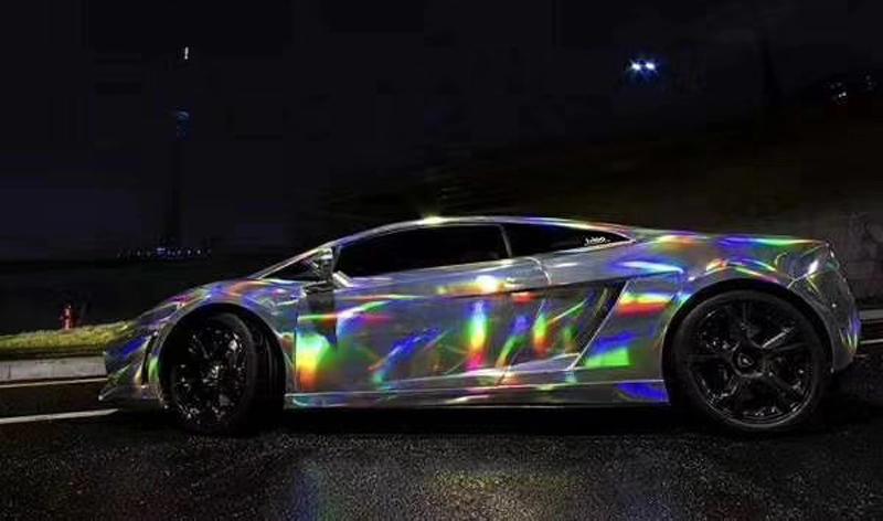 Holographique Laser Blanc Perle Chrome irisé Vinyle Film Voiture Wrap changement de couleur
